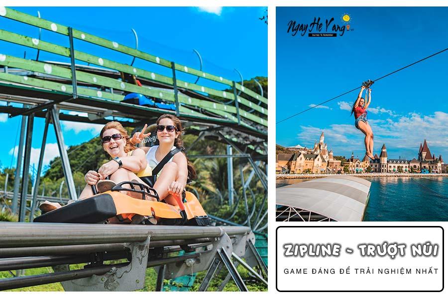 Trượt núi - Zipline tại Vinpearl Nha Trang